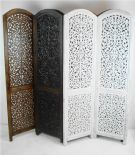 4 Panel Hand Carved Indian Screen Wooden Screen Divider Kashmeri Jali 177x183cm